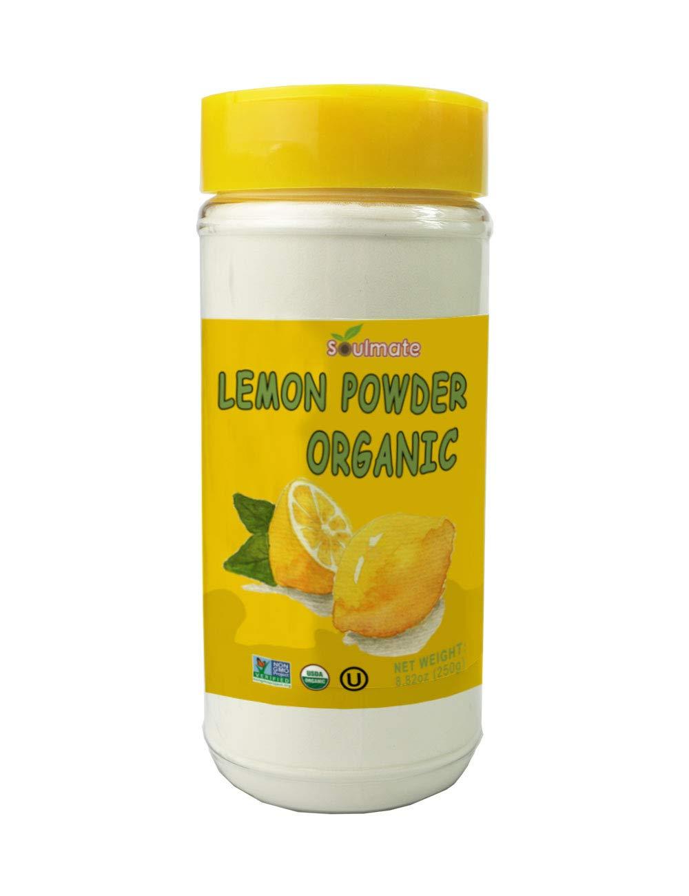 Soulmate Organic Lemon Juice Powder 100% Meyer Lemon 8.82 Oz Large Shaker,All Natural,No Additives,USDA Kosher (250g)