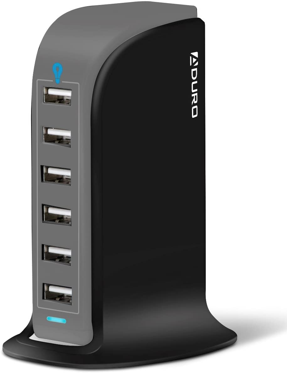 Aduro 40W 6-Port USB Desktop Charging Station Hub Wall Charger for iPhone iPad Tablets Smartphones with Smart Flow (Black/Grey)
