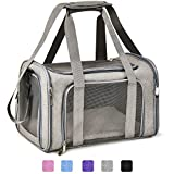 Henkelion Cat Carriers Dog Carrier Pet Carrier For Small / Medium Cats Dogs Puppies (Up To 15lbs), TSA Airline Approved Small Dog Carrier Soft Sided, Collapsible Waterproof Travel Puppy Carrier - Grey