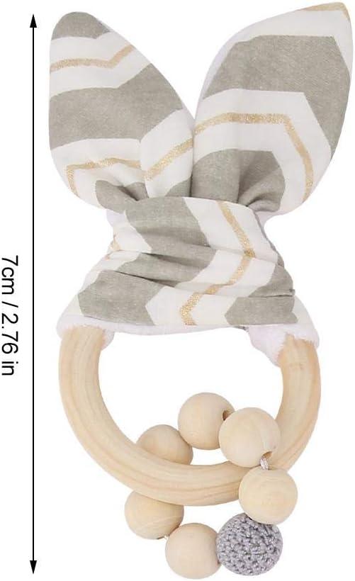 Anneaux de Dentition en Bois pour B/éb/é Jouets Suspendus Poussette Color/é Perles Adorables Oreilles De Lapin Ornement pour B/éb/é Cadeau Naissance White