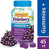 Emergen-C Immune+ Gummies (45 Count, Elderberry Flavor) Immune Support with 750mg Vitamin C, Plus Vitamin D and Zinc, Vegetarian, Caffeine Free, and Gluten Free Dietary Supplement