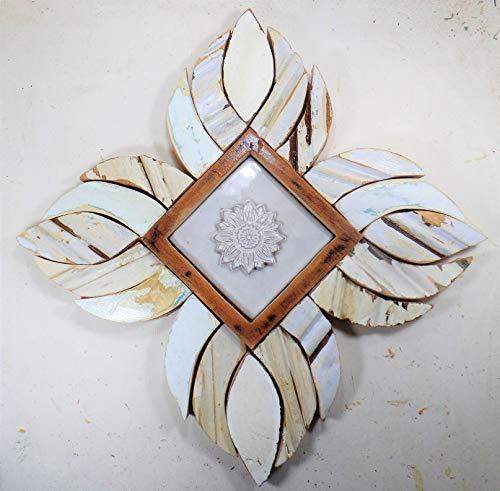 Framed Sunflower Tile, Reclaimed Wood Art, Ceramic TIle Art ()