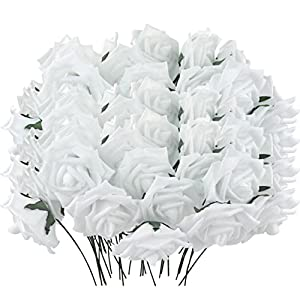 obmwang 50PCS White Foam Roses Flowers, Real Touch Artificial Rose Flowers DIY 3D Wedding Bridal Bouquet Home Hotel Party Garden Floral Decor White 5