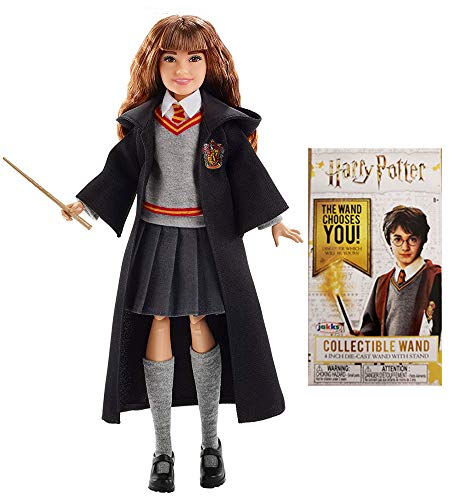 (Harry Potter Merchandise Doll Plus Wand - Wizarding World of Harry Potter Gifts Hermione Granger Doll and Die Cast Wand Set for Collectors)