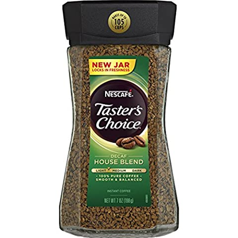 Nescafe Taster's Choice Decaf Instant Coffee, House Blend, 7 Ounce - Caffeine Free Coffee