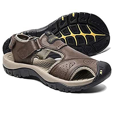 visionreast Mens Leather Sandals Outdoor Hiking Sandals Waterproof Athletic Sports Sandals Fisherman Beach Shoes Closed Toe Water Sandals Black Size: EU40 / 7 (D) M US_
