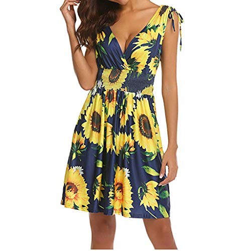 - Rambling New Women's Sleeveless Low Cut V Neck Backless Boho Printed Short Sundress Yellow