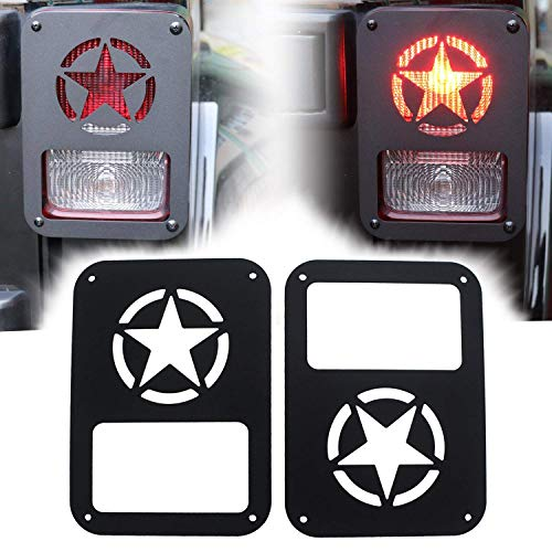 Yoursme Tail Light Covers Taillight Guard Protector Matte Black Star for Jeep Wrangler JK JKU Sports Sahara Freedom Rubicon X & Unlimited 2007-2018 (Pack of 2)