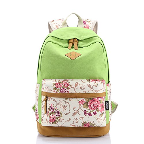 Leaper Casual Style Lightweight Canvas Laptop Backpack Cute Travel School College Shoulder Bag/Bookbags/Daypack for Teenage Girls/Students/Women-With Laptop Compartment