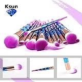 Ksun 12 Pieces Unicorn Mermaid Brush Set Make Up Rainbow Diamond Handle Makeup Brushes Set Foundation Cream Powder Brush Kit