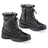 Totes Side Zip Plush Thermal Snow Boots - Outdoor Weather-Proof Winter Gear, Black, 8