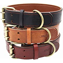 Moonpet Soft Padded Real Leather Dog Collar - Best Full Grain Heavy Duty Genuine Leather Collar - for Small Medium Large Male Female Dogs - Light Brown,17.2-22''