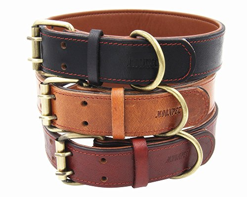 Leather Dog Collar Tan - Moonpet Soft Padded Real Genuine Leather Dog Collar-Best Full Grain Heavy Duty Dog Collar-Durable Strong Adjustable for Small Medium Large X-Large Male Female Dogs Training-Light Brown 17.2-22''