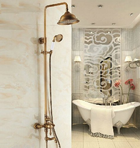 GOWE Luxury Wall Mounted Rainfall Bathtub and Shower Faucet Antique Brass Finished Complete Shower Faucet Set with Handheld Shower