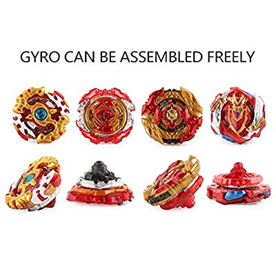 Bey Gyro Burst | 4 Pieces Speed Gyro Metal Combat Gyro Set | 4D Fusion Model Burst Evolution Combination Series with 2 Launcher and One Stadium Arena: Toys & Games