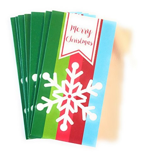 Christmas Money or Gift Card Holder Cards - Set of 8 with Metallic/Glitter Accents (Snowflake)