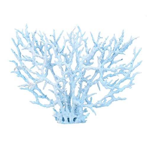 - Vacally Aquatic Landscape Soft Coral Artificial Coral Plastic Leaves Flowers Accent Underwater Plants Decorative Aquarium Ornament (Large, Blue)