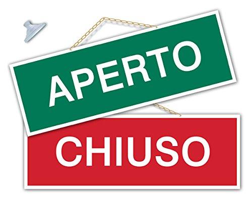 Cartel con inscripción en italiano «APERTO/CHIUSO/TORNO ...