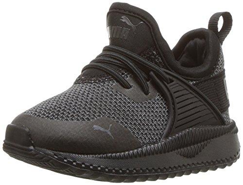 PUMA Unisex-Kids Pacer Next Cage AC Kids Sneaker,  black- black-iron gate, 3.5 M US Big Kid