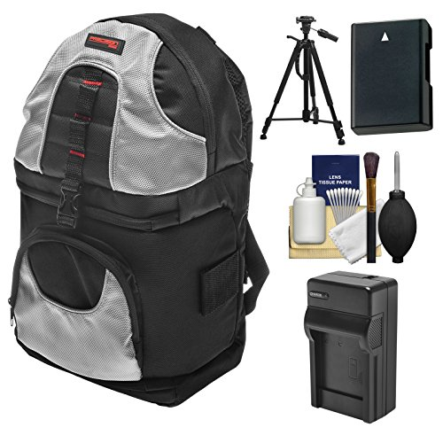 Precision Design PD-BP2 Sling Digital SLR Camera Backpack Case with EN-EL14 Battery & Charger + Tripod + Kit for Nikon Nikon D3300, D3400, D5300, D5500, D5600 by Precision Design