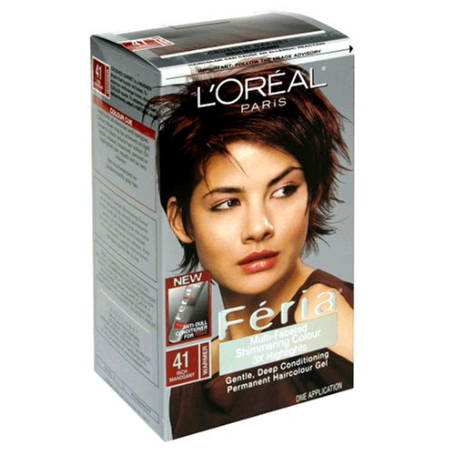 L'Oreal Feria Multi-Faceted Shimmering Colour, Level 3 Permanent, Rich Mahogany/Warmer 41 (Pack of 3)