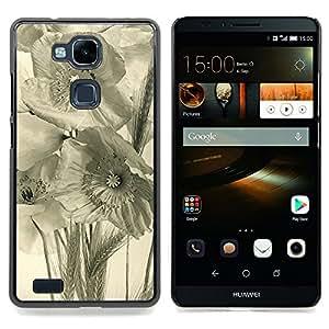 For HUAWEI Ascend MATE 7 Case , Arte Negro Blanco Campo Rye - Diseño Patrón Teléfono Caso Cubierta Case Bumper Duro Protección Case Cover Funda