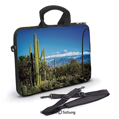 10 inch Laptop Case,Wide View of the Tucson Countryside with Cacti Rural Wild Landscape Arizona Phoenix Neoprene Laptop Shoulder Bag Sleeve Case with Handle and Carrying & External Side Pocket,for Net