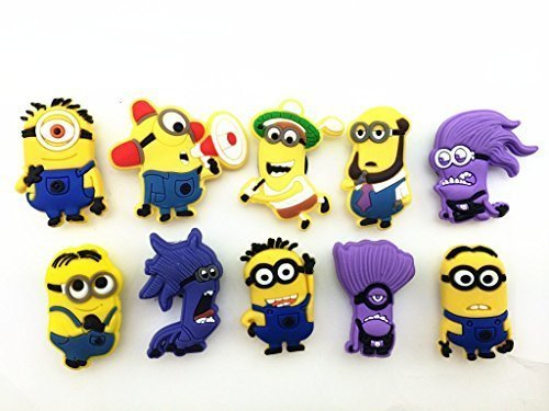 10pcs Despicable Me 2 Shoe Charms for Fit Croc & Bracelet Wristband Kids Party Birthday Gifts (Despicable Me Shoes)