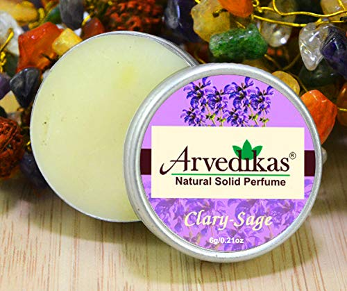 Arvedikas Clary Sage Natural Solid Perfume Beeswax/Mini Jar/Floral Fragrance/Women Aromatic Scent/Pocket Size Compact Cologne/Scented Balm/Skin Friendly/Alcohol Free (6gm each - 0.21oz) - Blossom Perfume Cherry Solid