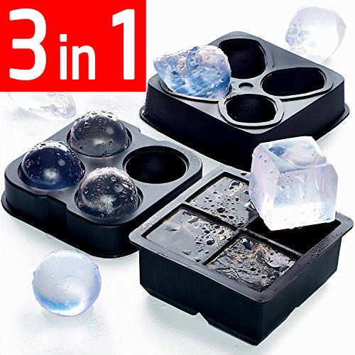 Ice Cube Set 3 in 1 - NEW 2018 - Best Ice Balls Skull Cube Silicone Molds BPA FREE - Chocolate Candy 3D (Best Ice)