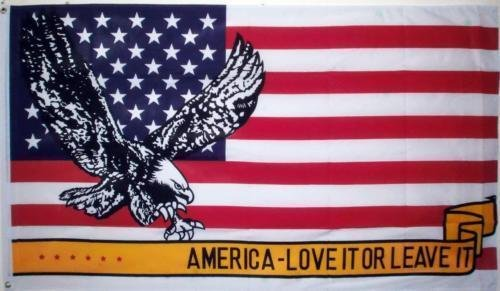 ALBATROS 3 ft x 5 ft USA American Eagle Love It Or Leave It Flag Brass Grommets for Home and Parades, Official Party, All Weather Indoors Outdoors ()