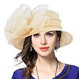 Lady Derby Dress Church Cloche Hat Bow Bucket Wedding Bowler Hats (Apricot, Medium)