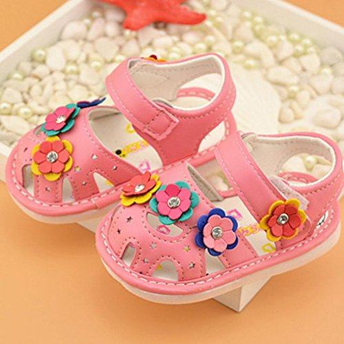 Zapatos de bebé, Switchali Recién nacido bebe niña verano Princesa zapatos Niñas floral Suela blanda Antideslizante Zapatillas chica vestir Calzado de deportes Sandalias Rosado