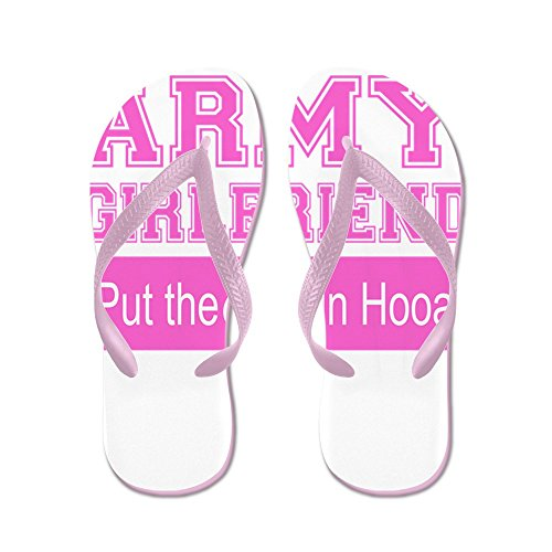 Cafepress Armée Petite Amie Ooo Dans Hooah_pink - Tongs, Sandales String Drôle, Sandales De Plage Rose