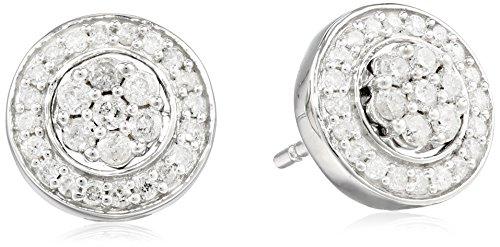 Diamond Silver Cluster Earrings - Sterling Silver Diamond Cluster Jacket Stud Earrings (1/2 cttw)