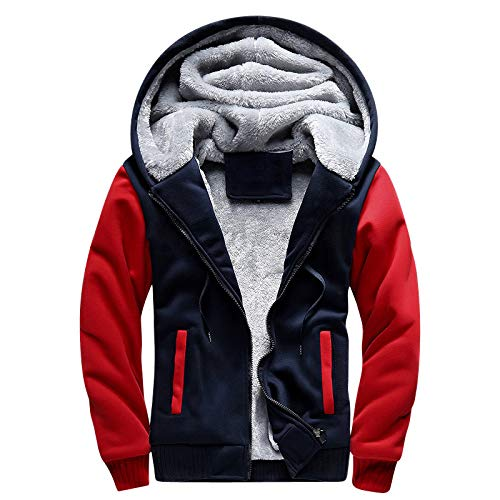Men's Warm Clothes Street Hoodies with Hat Shirt Coats and Velvet Size Men's Clothes (red,4XL) (red,4XL) ()