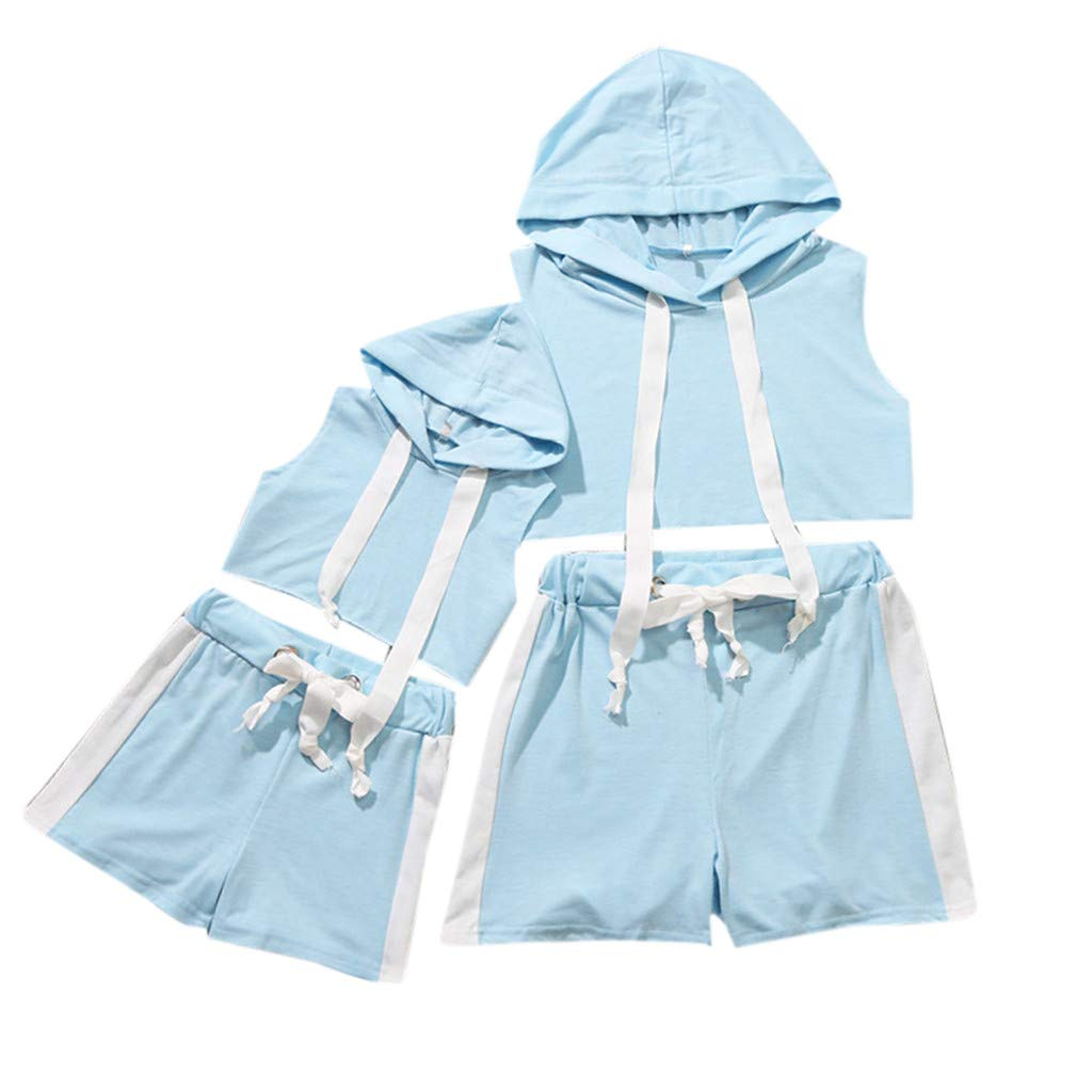Kiminana Family's Clothes,MomΧld,Women's Mother and Daughter Solid Color Hooded Sports Band Parent-Child Suit