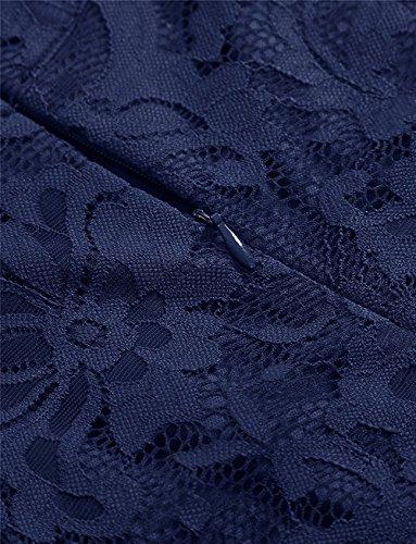 Bodas Marino AVSUPPLY Elegante de Mangas Encaje Largos Azul sin Noche Cuello Alto Coctel Vestidos Alto Mujer Fiesta Bajo para Brnvx0rUR