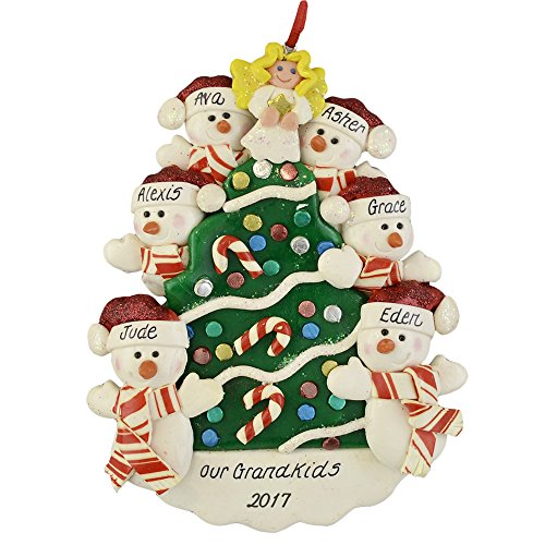 Our 6 Grandchildren Personalized Ornament Calliope Designs Snowmen By Christmas Tree 5 Tall Handcrafted Free Customization