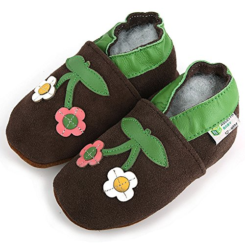 AUGUSTA BABY Baby Boys Girls First Walker Soft Sole Leather Baby Shoes - Genuine Leather Brown