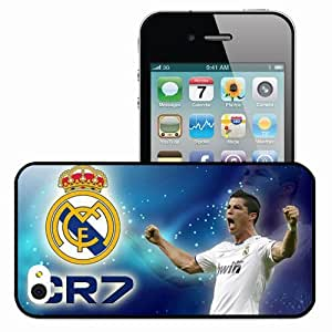 Personalized iPhone 4 4S Cell phone Case/Cover Skin WALLPAPER CR Cristiano Ronaldo Real Madrid Football Black