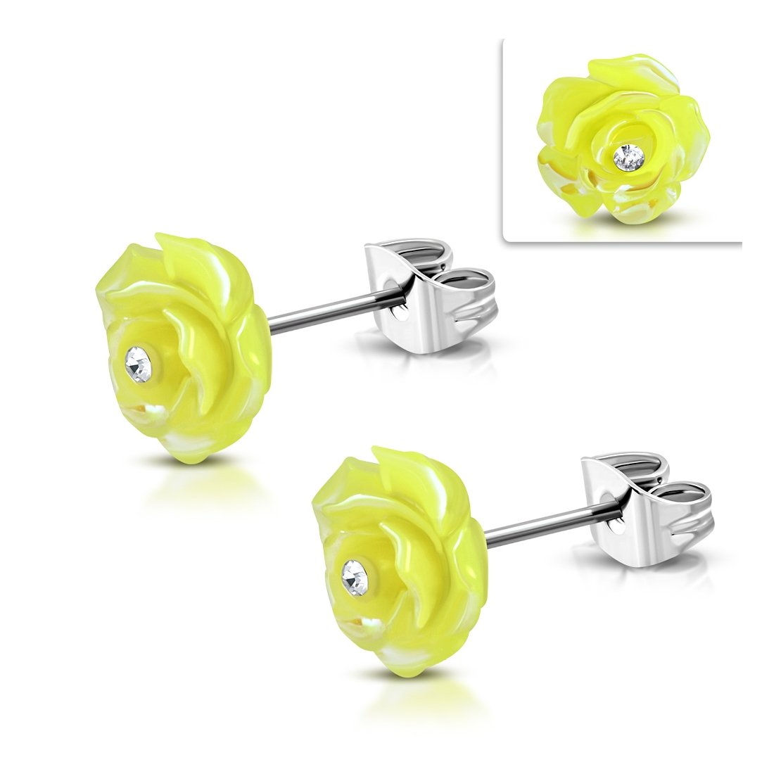 Stainless Steel Shimmer Yellow Resin Rose Flower Stud Earrings with Clear CZ pair