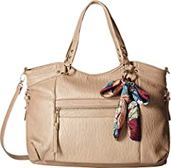 Making your way around town to complete those errands never looked so good with the Jessica Simpson™ Doris Tote handbag. Faux-leather construction. Zipper closure. Dual carry handles. Removable crossbody strap. Exterior boasts a scarf accent,...