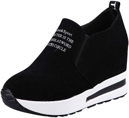 OHQ Zapatillas De Gimnasia Mujer Casual Flock Ponerse Plataforma Gruesa Zapatillas Deportivas CuñAs Zapatos CóModo Y Elegante