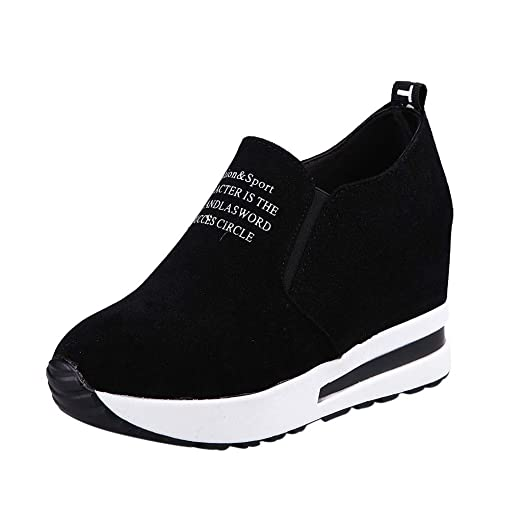 5aade28770ae4 Amazon.com: Goldweather Women Wedges Trainers Suede Thick Platform ...