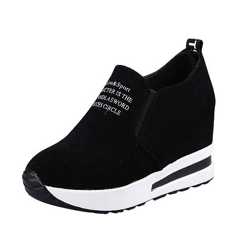 Limsea 2019 Women Sport Sneakers Fashion Flock Wedges Slip-On Thick Platform All Season Shoes