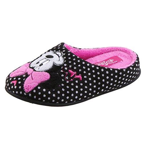 Tierhausschuhe Disney Minnie Maus Tier Hausschuhe Pantoffel Schlappen Slipper Kuscheltier Plüsch Mädchen, TH-Minnie Slipper Herz schwarz
