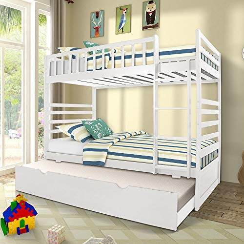 Space Saving Design Sleeping Bedroom Furniture with Trundle Solid Wood Bunk Bed, Ladder and Safety Rail for Boys and Girls, White2