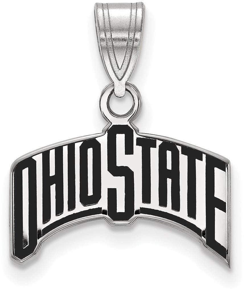 Sterling Silver Ohio State University Medium Enamel Pendant by LogoArt SS074OSU