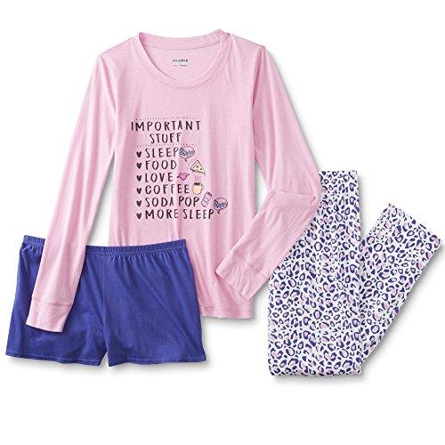 Joe Boxer Womens Plus Size 3-Piece Pajamas Lounge Set With Shirt, Shorts, and Pants (Important Stuff, 1X)